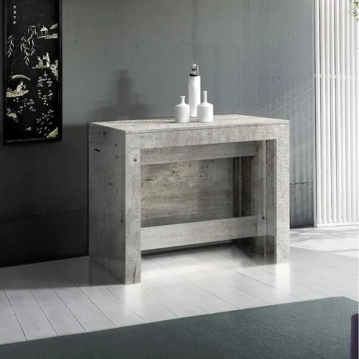 table console extensible 12 couverts longo 90 cm finition beton avec 5 allonges integrees gris mdf inside75