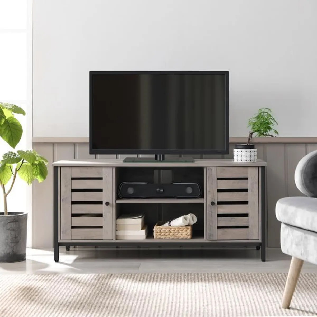 vasagle meuble tv avec etageres et