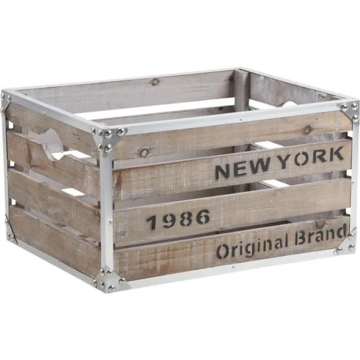 caisse de rangement en bois et metal