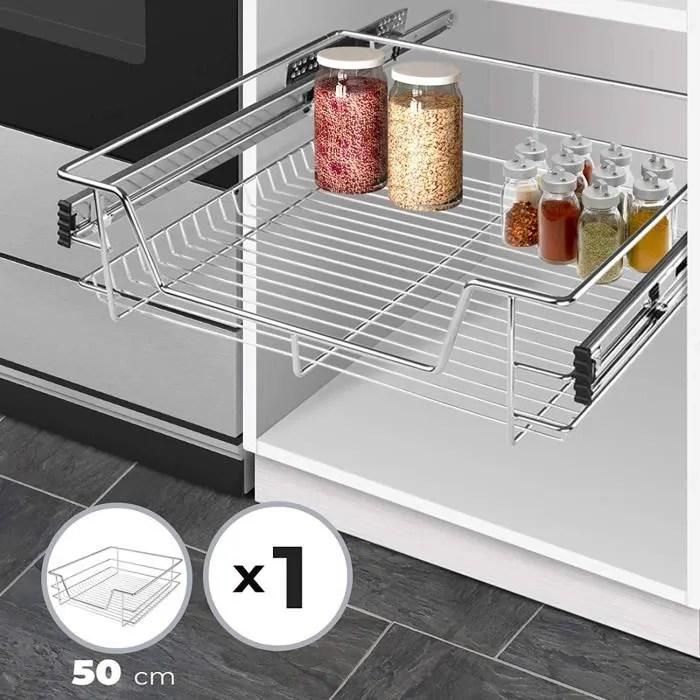 jago tiroir telescopique de cuisine pour placard de 50 cm charge max 20 kg rails inclus panier de rangement coulissant