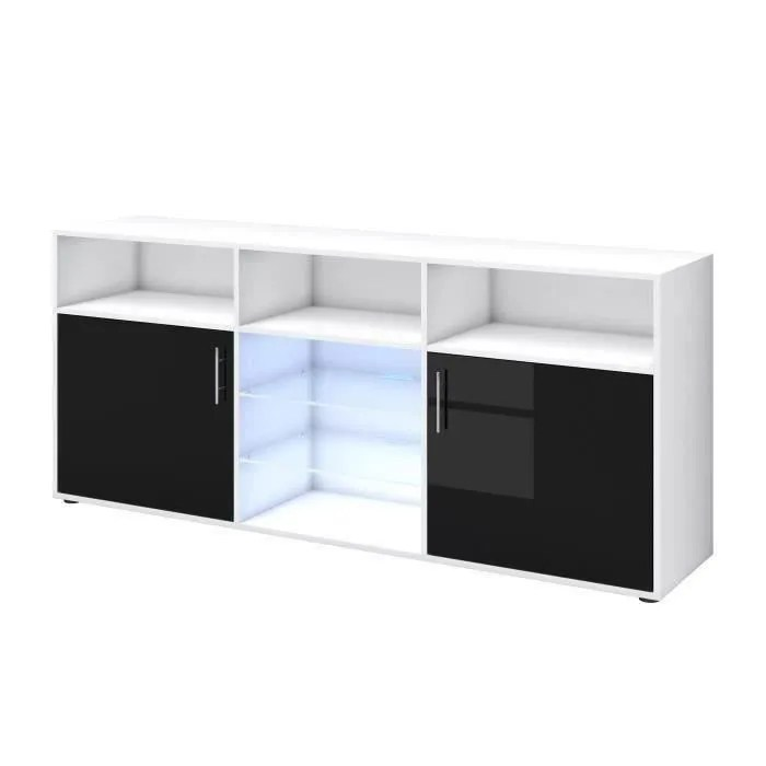 meuble laque noir et blanc