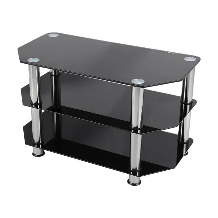meuble tv en verre trempe noir achat