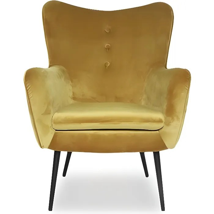 fauteuil haut en velours zola jaune