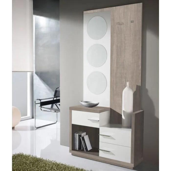 meuble d entree blanc chene clair miroirs luna l 90 x l 29 x h 190