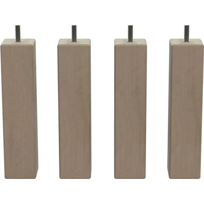 4 pieds de lit bois brut carre l 5cm l 5cm h 20cm