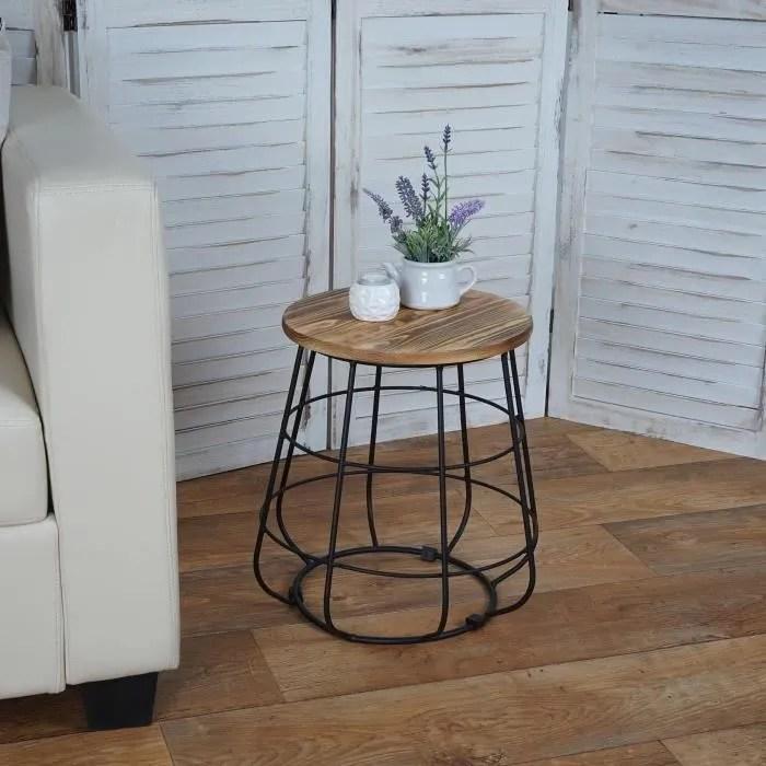 table d appoint table de chevet tabouret en bois design industriel o35cm mdj04119