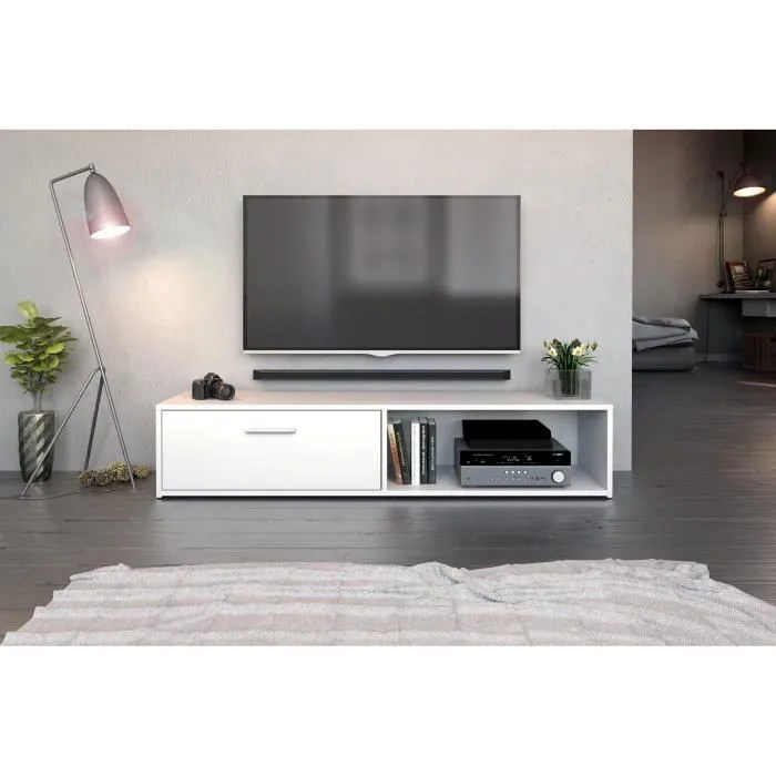 decoro meuble tv bas modern vento effet blanc mat