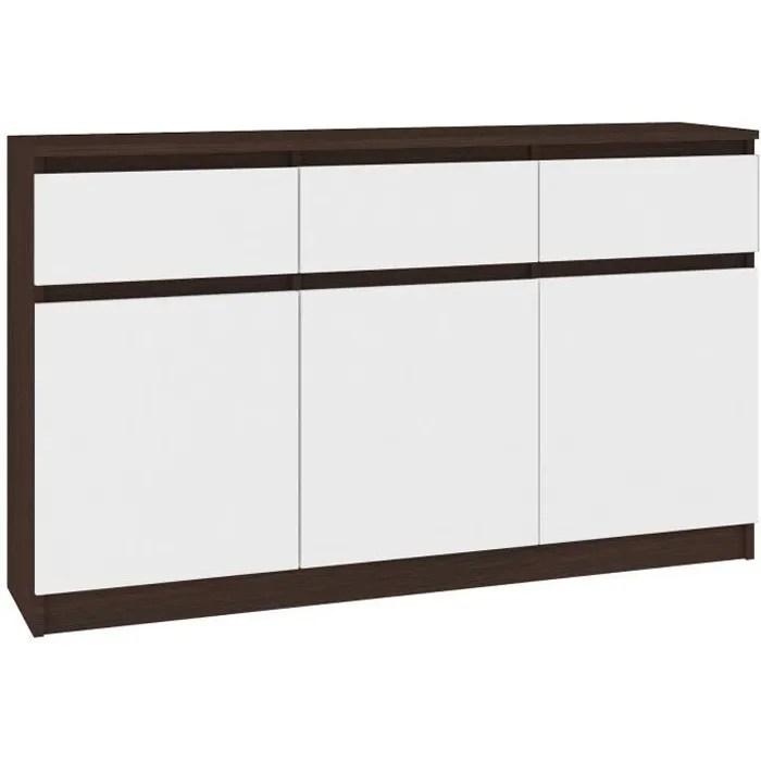 grace buffet enfilade moderne salon sejour 3 tiroirs 3 portes 138x99x40 cm commode contemporaine couleur wenge blanc