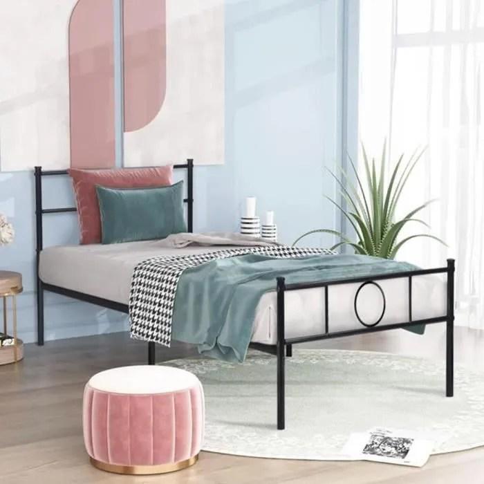 wsdwqaa lit fer forge cadre de lit seul en metal
