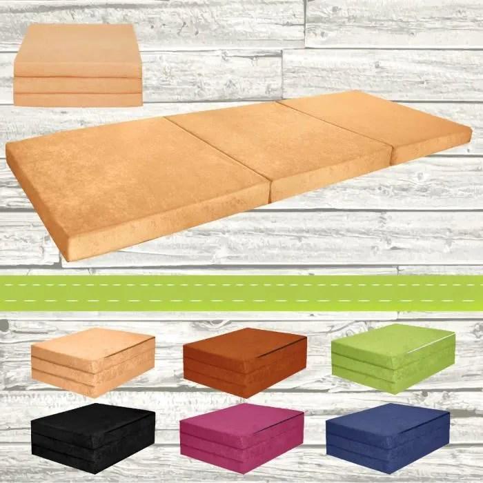 chauffeuse couchage d appoint matelas plient lit d invite futon 195x80x9cm