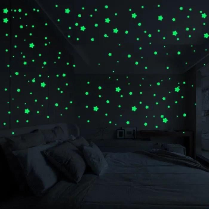 3d etoiles phosphorescent fluorescent noir lumineu
