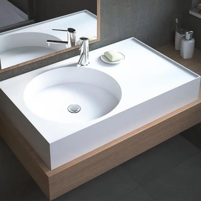 Vasque Rectangulaire A Poser En Solid Surface 80 Cm Sara Blanc Achat Vente Lavabo Vasque Vasque Rectangulaire A Poser Cdiscount