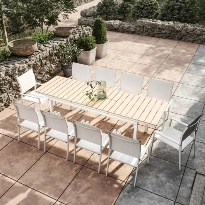 table de jardin extensible aluminium blanc 180 240cm 10 fauteuils empilables textilene palma 10