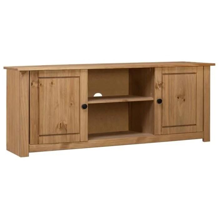 meuble tv 120x40x50 cm bois de pin massif assortiment panama foreven