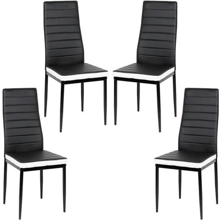 lot de 4 chaises de cuisine romane noires bandeau blanc chaises de salle a manger mobilier de salon design