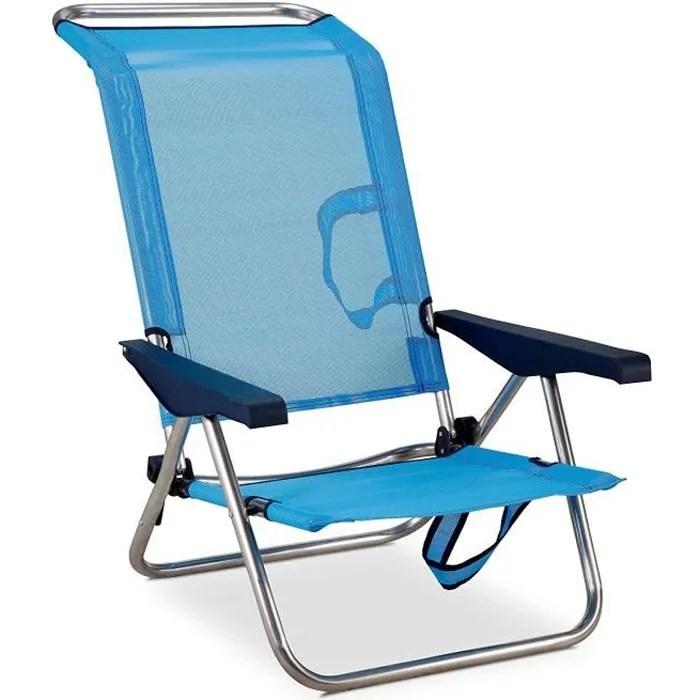 chaise plage lit positions en aluminium et textile