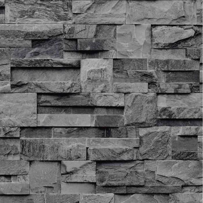 papier peint pierre de parement grise