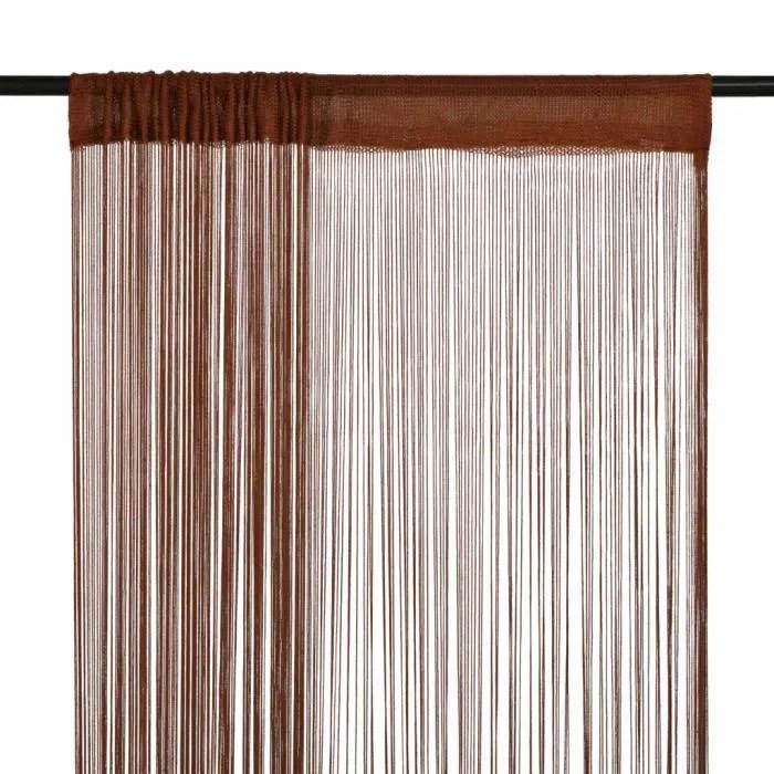 anself 2 pcs rideau en fils pour porte fenetre separateur de piece vitrine 140 x 250 cm marron