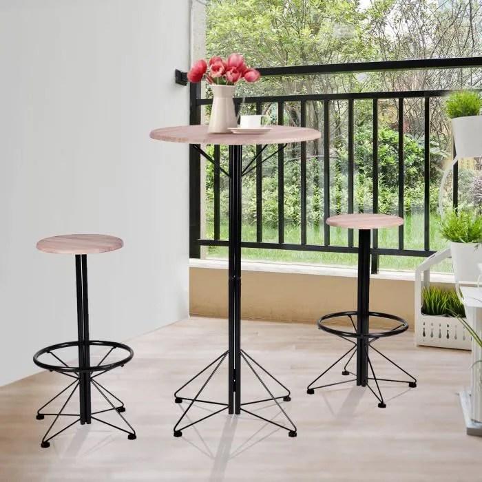 ensemble de bar 3 pcs bois haute de bar et 2 chaises dans table a manger complete exterieur ronde scandinave style hetre