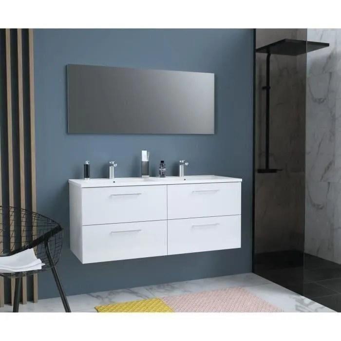 glossy meuble de salle de bain double vasque l 120cm blanc laque brillant