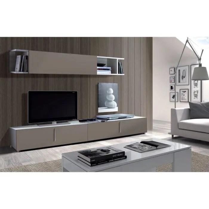 lyon meuble tv mural 200 cm gris blanc