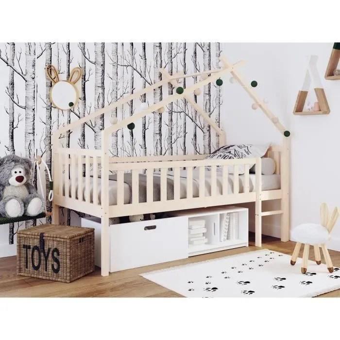 lit cabane sureleve enfant avec bacs de rangements pin massif bicolor brut blanc sommier inclus 90x190 cm elidja