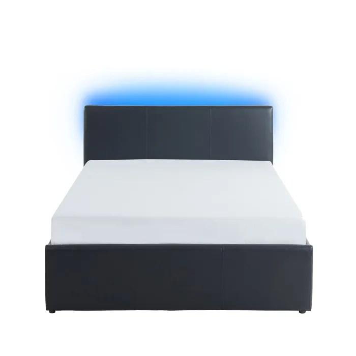 astra lit coffre 140x190 cm avec led simili noir l 203 x l 147 x h 81 cm