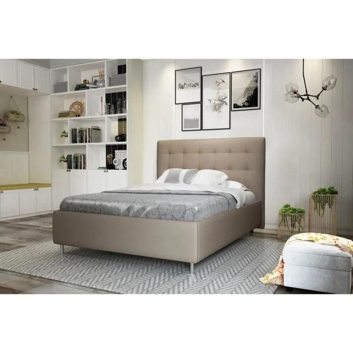 lit simili cuir 140 x 190 cm blanc