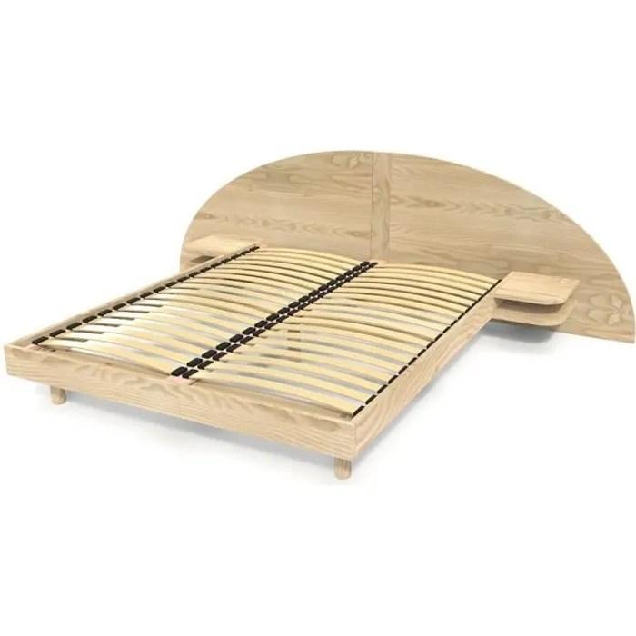 lit adulte arc bois avec tete et chevets integres brut 160x200