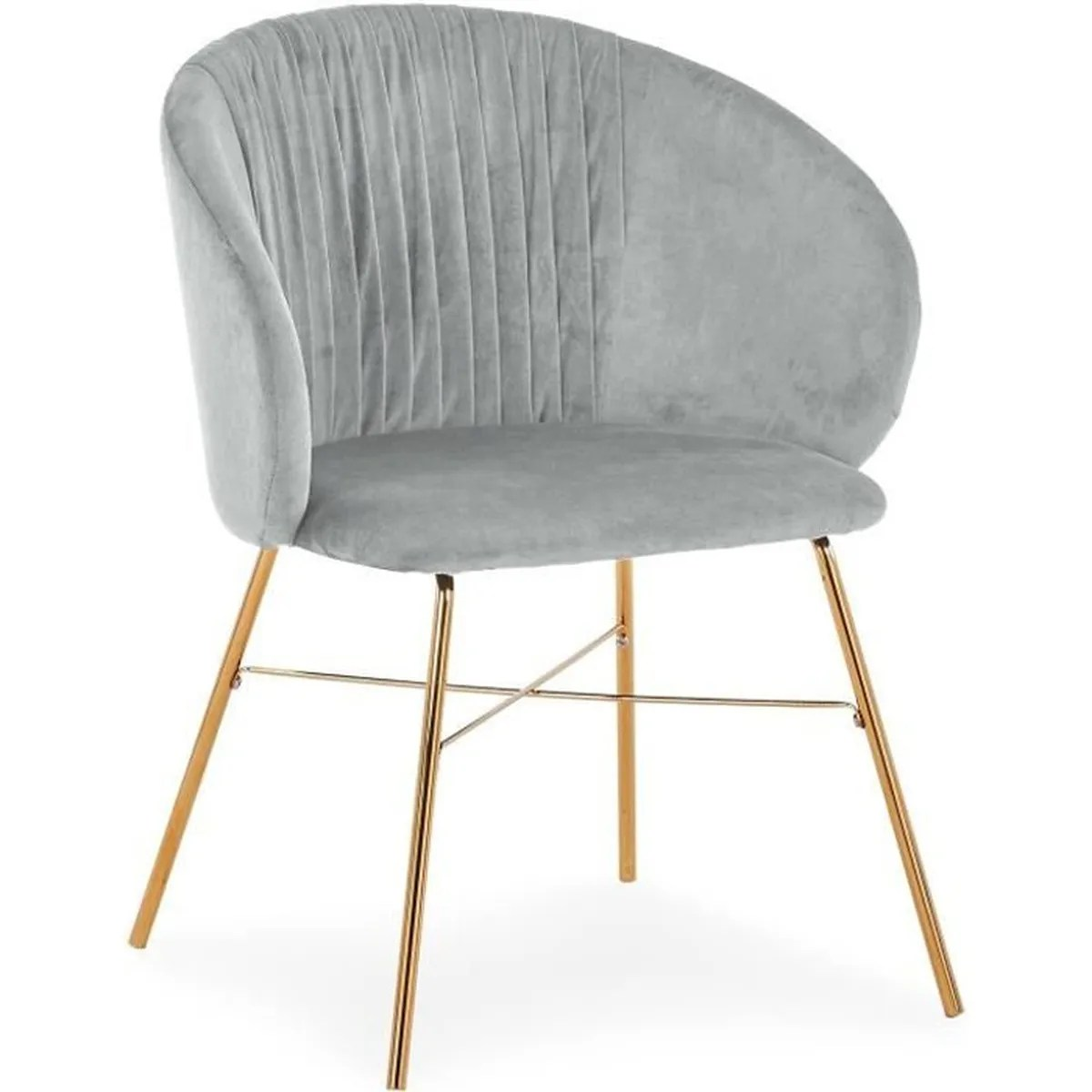 chaise smart velours argent pieds or