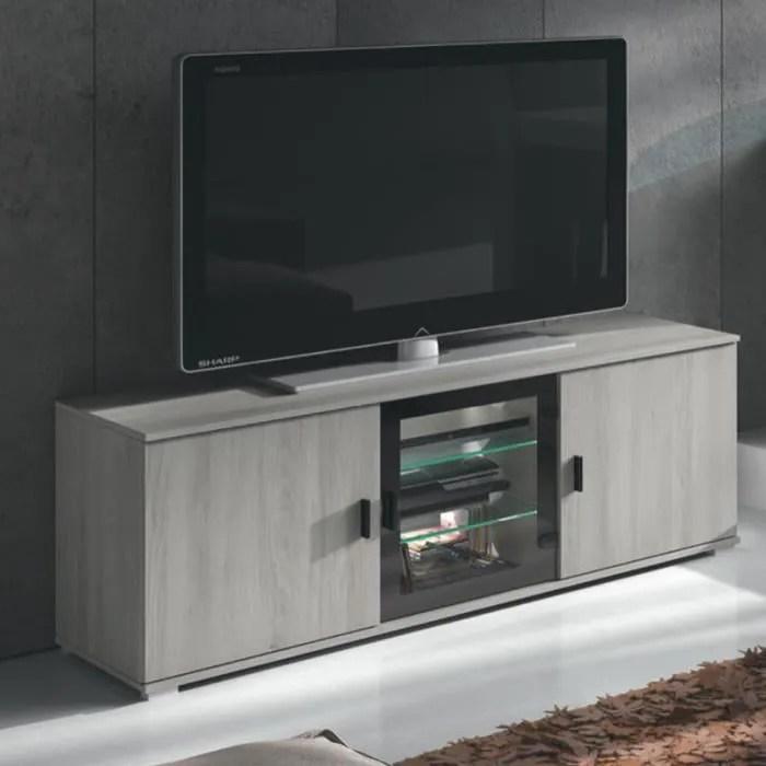 meuble tele 145 cm contemporain couleur chene gris