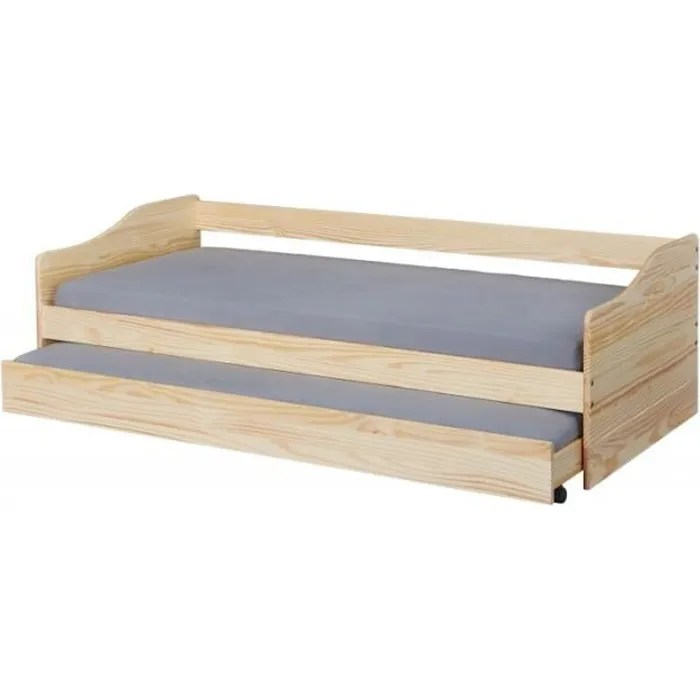 chambre lits rangements lit banquette malte avec tiroir de lit l 208 x l 97 x h 62 cm beige