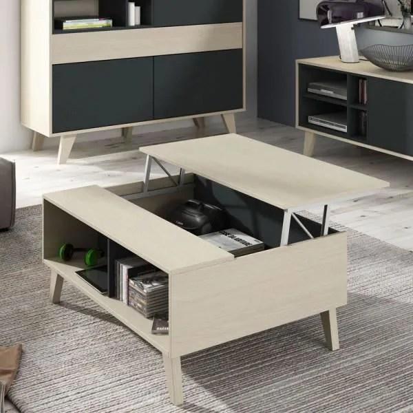 table basse relevable chene clair gris stockton bois clair bois l 100 x l 68 x h 41 cm table basse