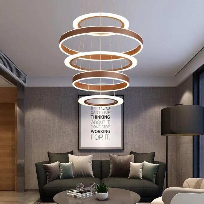 100w moderne led suspension dimmable avec telecommande luminaire table a mangeru 4 anneau brun lustre salon reglable en hauteur