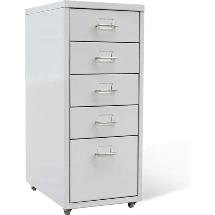 classeur suspendu armoires et meubles de rangement classeur a tiroirs metal 5 tiroirs gris