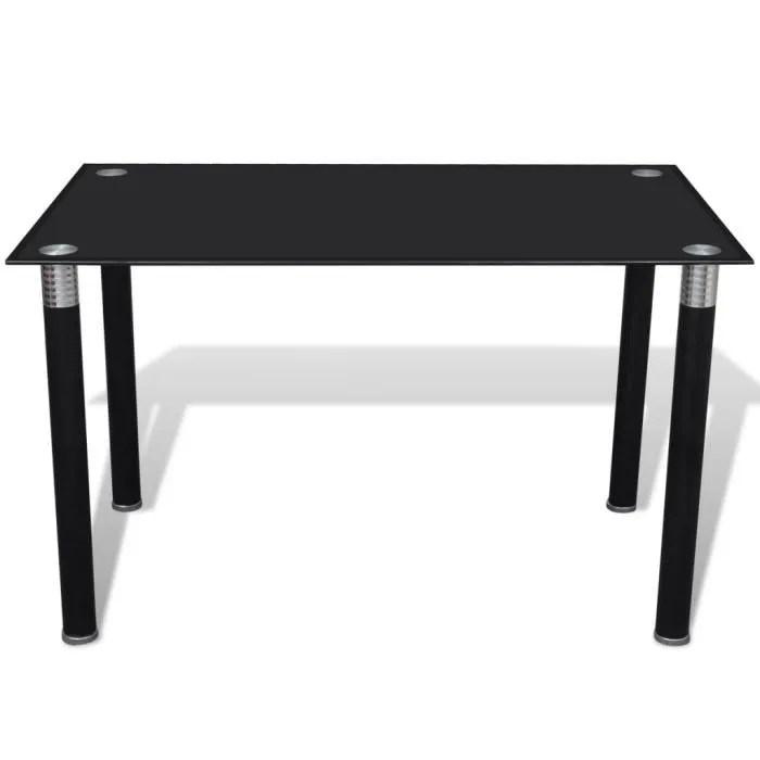 table a manger noire avec plateau en verre trempe de salle a manger ou cuisine 120 x 70 x 75 cm