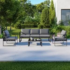 salon bas de jardin aluminium gris