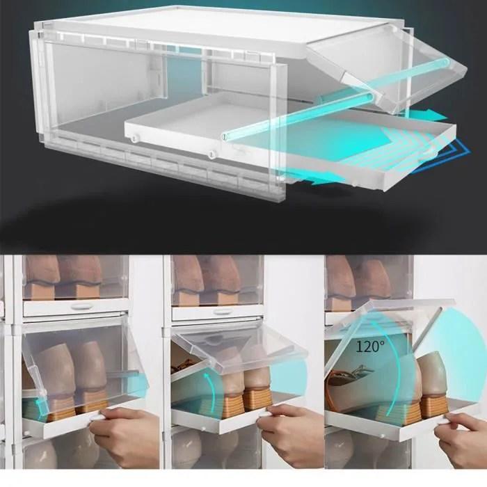 tiroir type boite a chaussures boite de rangement en plastique transparent pour chaussures ke4010