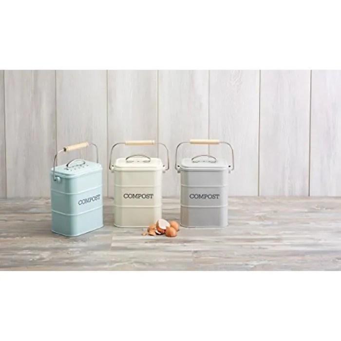 living nostalgia poubelle a compost en acier bleu vintage 3 l 5942