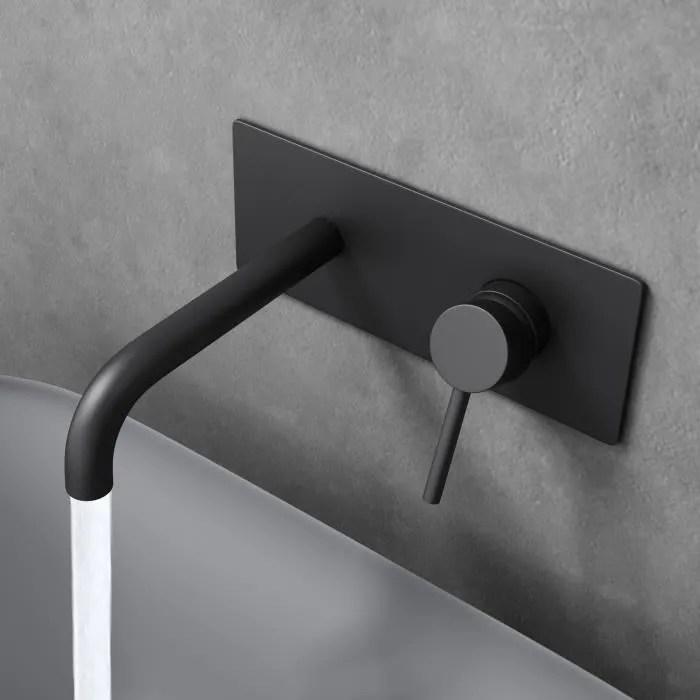 robinet pour lavabo ou vasque mitigeur noir mat en