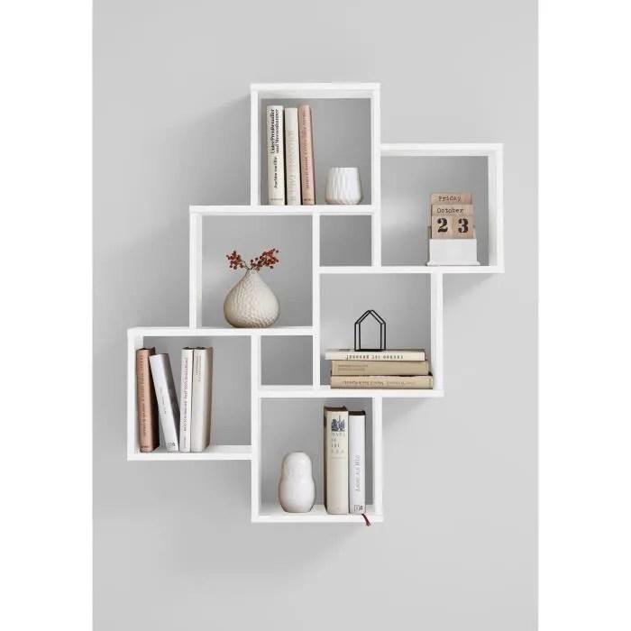 laurio 2 etagere murale 6 compartiments 81 5 x 94 5 x 16 cm panneau melamine decor blanc brillant