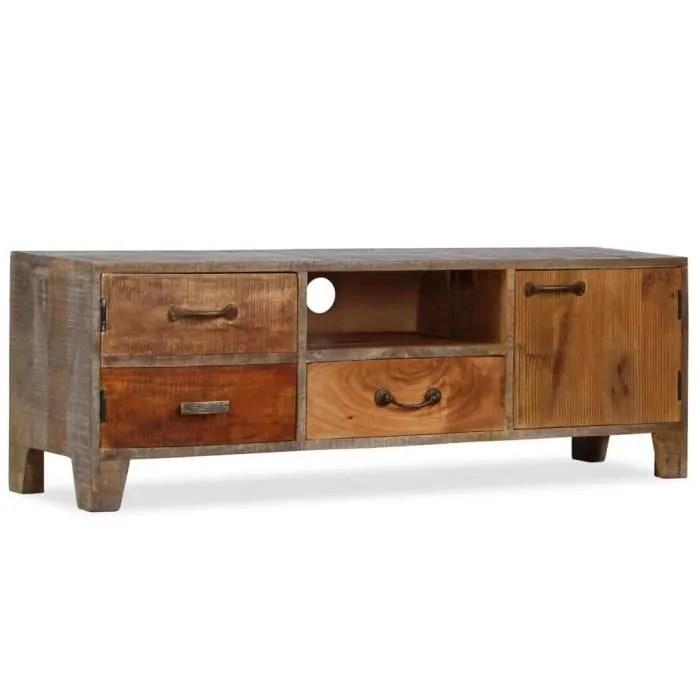 meuble tv bois massif vintage 118 x 30 x 40 cm