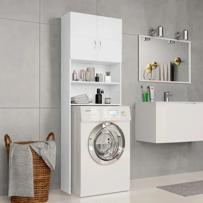 eto meuble pour machine a laver blanc 64 x 25 5 x 190 cm agglomere