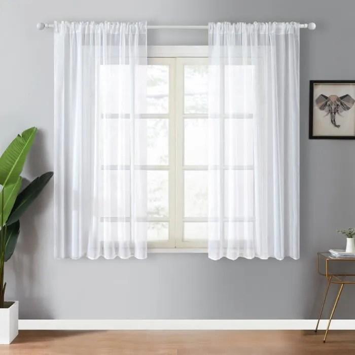 rideau voilages noel 2 panneaux blanc