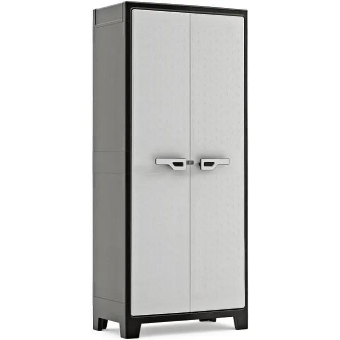 keter armoire haute titan noir et gris 80 x 44 x 182 cm