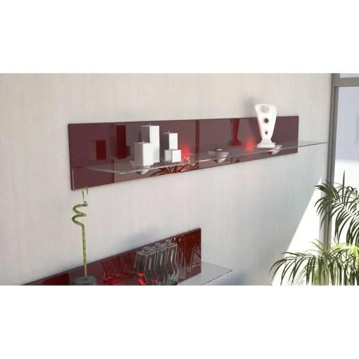 etagere murale design en bois et verre bordeaux avec led 146 cm
