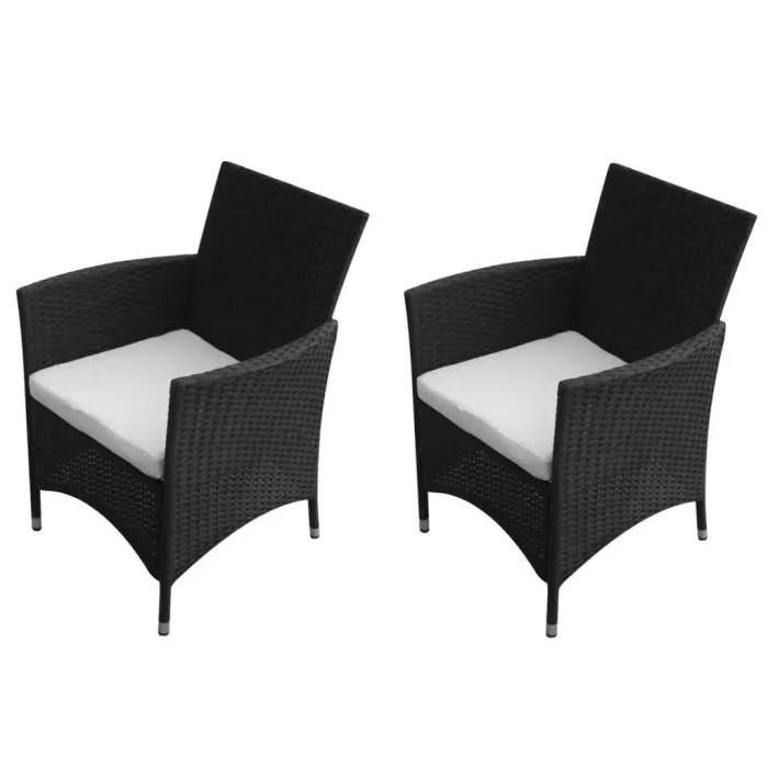 chaises de jardin 2 pieces rotin synthetique noir