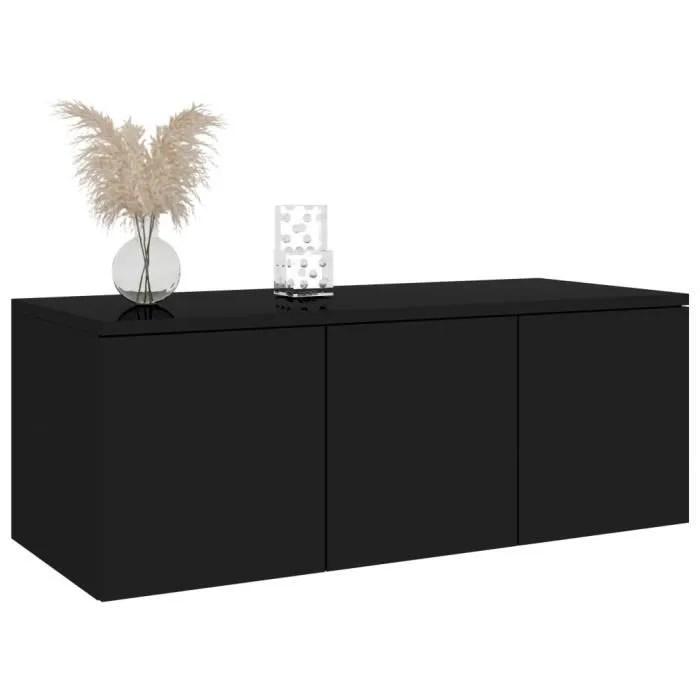 meuble salon noir brillant