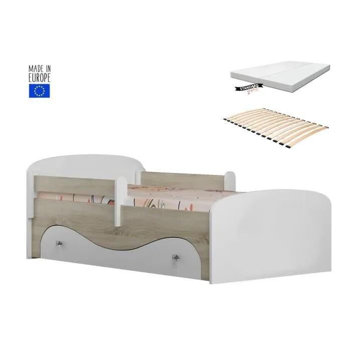 lit enfant 160x80cm avec tiroir sommier matelas barre de securite luxe sonoma blanc