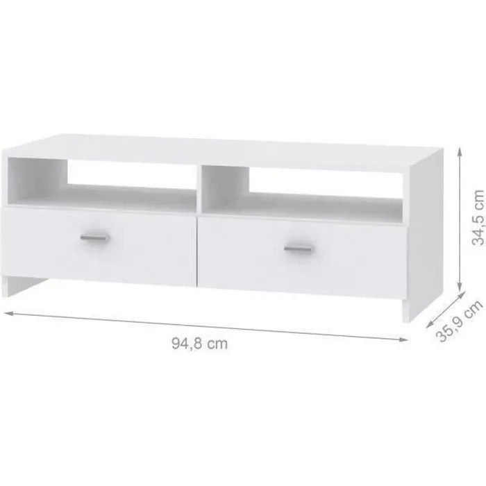 meuble tv contemporain blanc mat l 95 cm pilvi